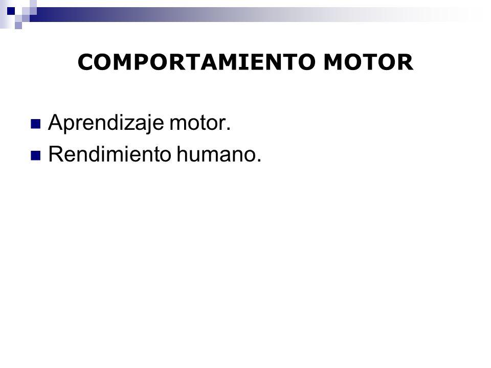 COMPORTAMIENTO MOTOR Aprendizaje motor. Rendimiento humano.