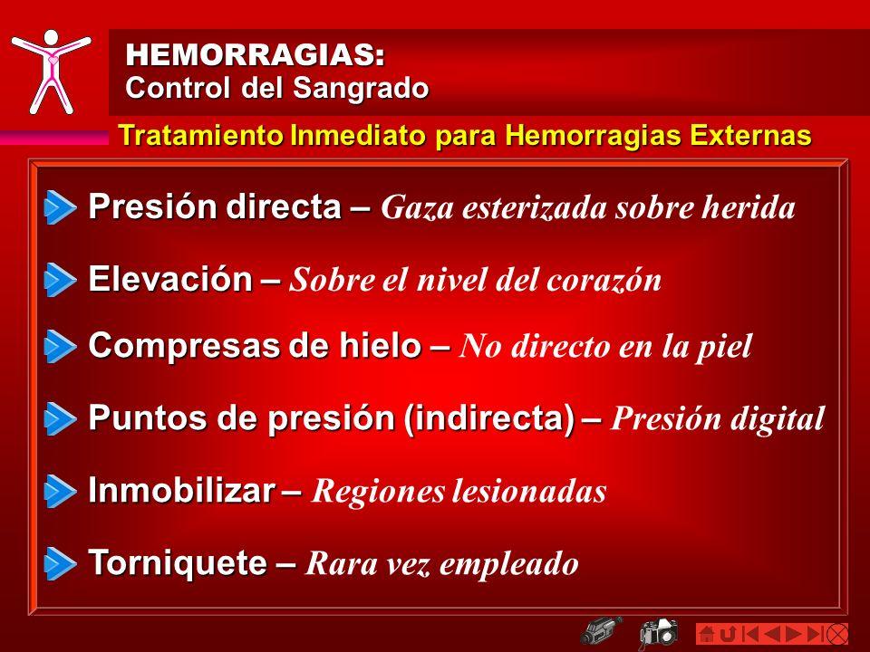 HEMORRAGIAS: Control del Sangrado Presión directa – Presión directa – Gaza esterizada sobre herida Tratamiento Inmediato para Hemorragias Externas Ele