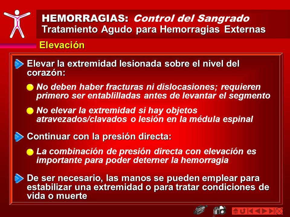 HEMORRAGIAS: HEMORRAGIAS: Control del Sangrado Tratamiento Agudo para Hemorragias Externas Elevación Elevar la extremidad lesionada sobre el nivel del