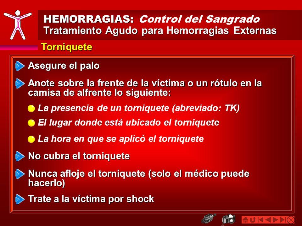 HEMORRAGIAS: HEMORRAGIAS: Control del Sangrado Tratamiento Agudo para Hemorragias Externas Torniquete Asegure el palo Anote sobre la frente de la víct