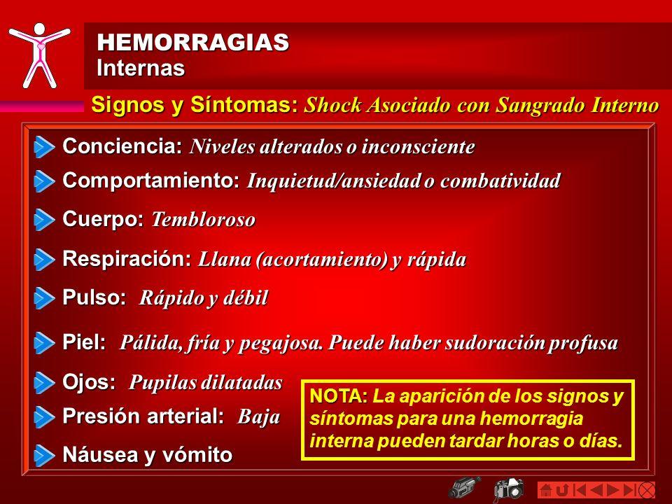 HEMORRAGIASInternas Signos y Síntomas: Shock Asociado con Sangrado Interno Pulso: Rápido y débil Piel: Pálida, fría y pegajosa. Puede haber sudoración