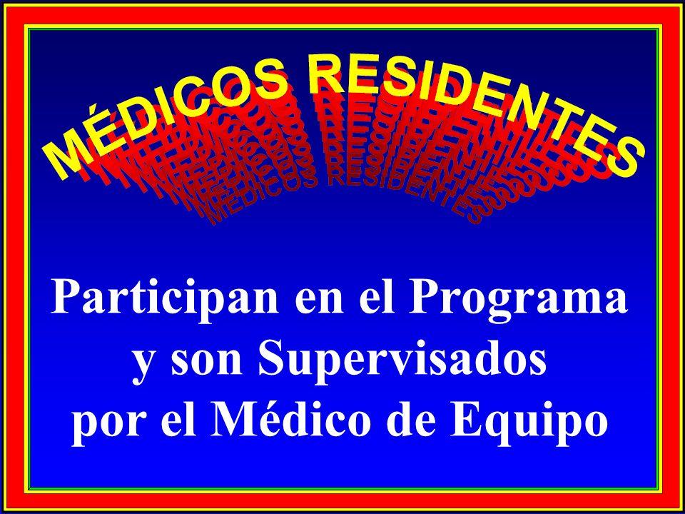 Participan en el Programa y son Supervisados por el Médico de Equipo