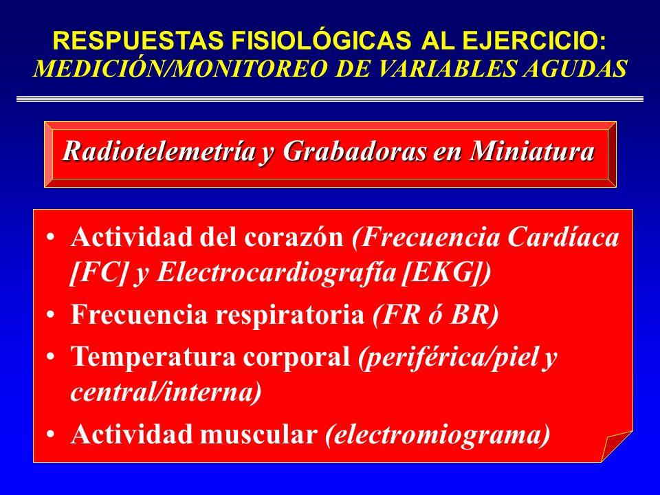 RESPUESTAS FISIOLÓGICAS AL EJERCICIO: MEDICIÓN/MONITOREO DE VARIABLES AGUDAS Actividad del corazón (Frecuencia Cardíaca [FC] y Electrocardiografía [EK