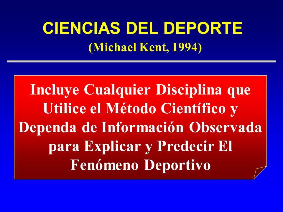 CIENCIAS DEL DEPORTE Incluye Cualquier Disciplina que Utilice el Método Científico y Dependa de Información Observada para Explicar y Predecir El Fenó