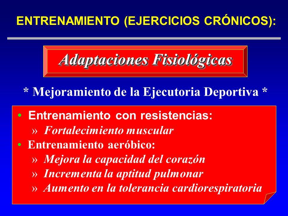 Adaptaciones Fisiológicas Entrenamiento con resistencias: » Fortalecimiento muscular Entrenamiento aeróbico: » Mejora la capacidad del corazón » Incre