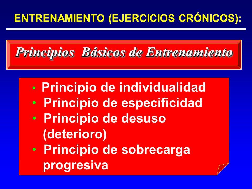 Principio de individualidad Principio de especificidad Principio de desuso (deterioro) Principio de sobrecarga progresiva Principios Básicos de Entren