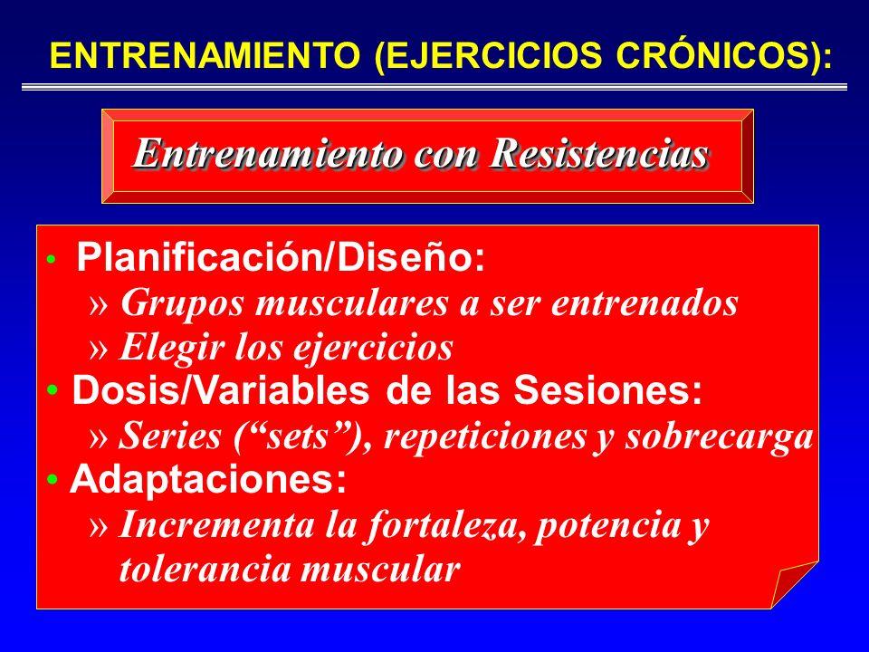 Planificación/Diseño: » Grupos musculares a ser entrenados » Elegir los ejercicios Dosis/Variables de las Sesiones: » Series (sets), repeticiones y so