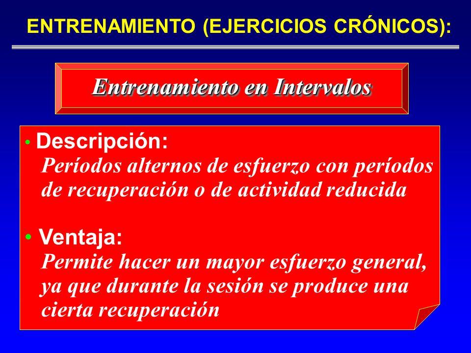 Entrenamiento en Intervalos ENTRENAMIENTO (EJERCICIOS CRÓNICOS): Descripción: Períodos alternos de esfuerzo con períodos de recuperación o de activida