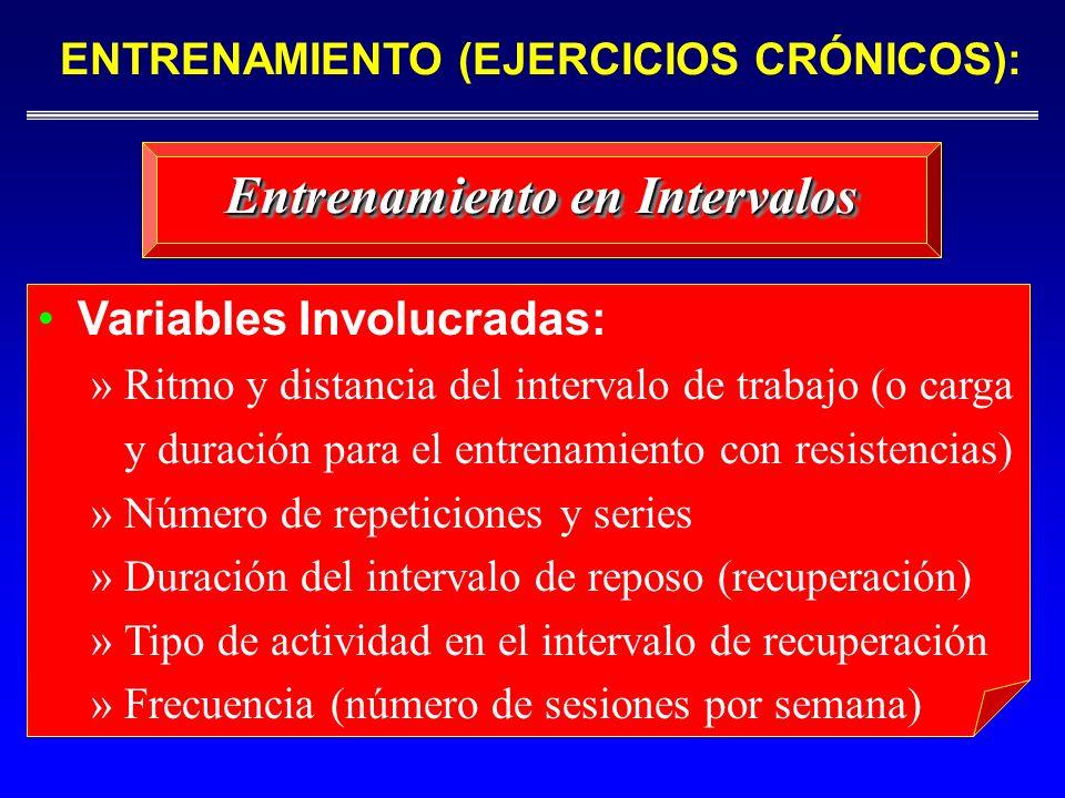 Entrenamiento en Intervalos Variables Involucradas: »Ritmo y distancia del intervalo de trabajo (o carga y duración para el entrenamiento con resisten