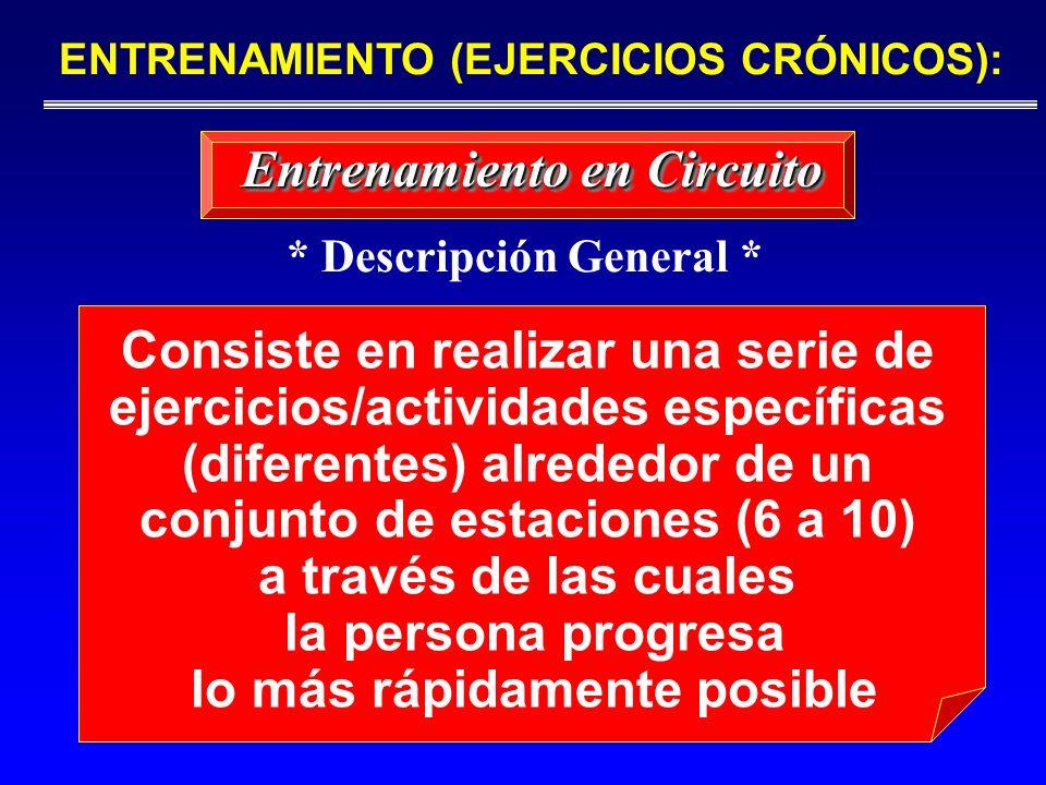 Consiste en realizar una serie de ejercicios/actividades específicas (diferentes) alrededor de un conjunto de estaciones (6 a 10) a través de las cual