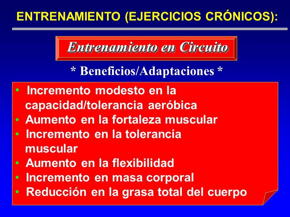 Incremento modesto en la capacidad/tolerancia aeróbica Aumento en la fortaleza muscular Incremento en la tolerancia muscular Aumento en la flexibilida