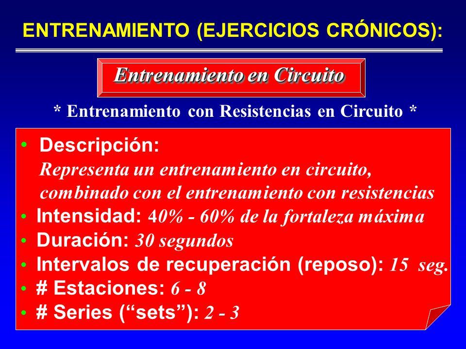 Descripción: Representa un entrenamiento en circuito, combinado con el entrenamiento con resistencias Intensidad: 4 0% - 60% de la fortaleza máxima Du