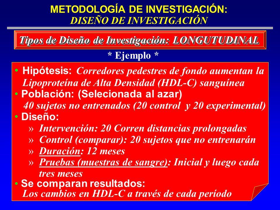 Tipos de Diseño de Investigación: LONGUTUDINAL Hipótesis: Corredores pedestres de fondo aumentan la Lipoproteína de Alta Densidad (HDL-C) sanguínea Po