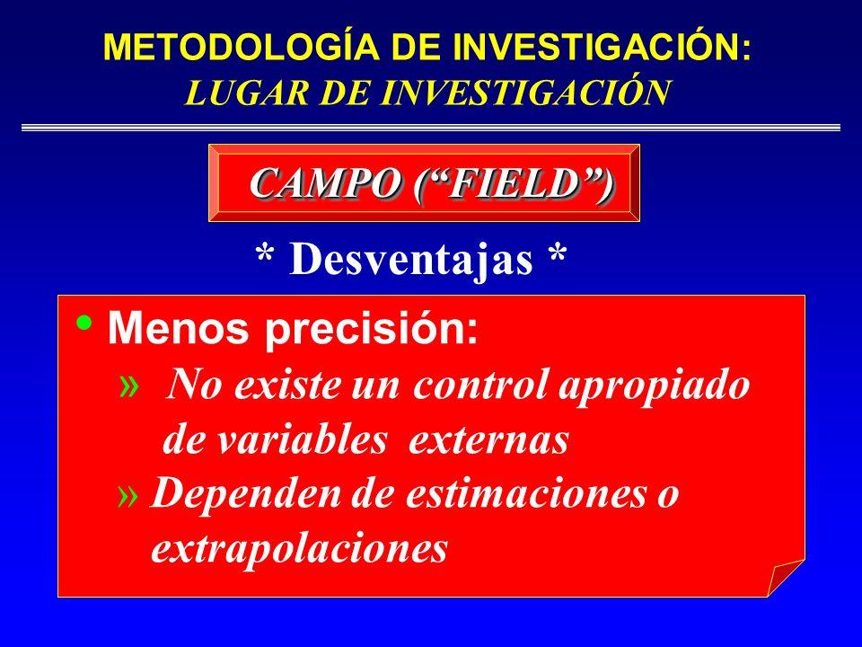 CAMPO (FIELD) Menos precisión: » No existe un control apropiado de variables externas » Dependen de estimaciones o extrapolaciones * Desventajas * MET