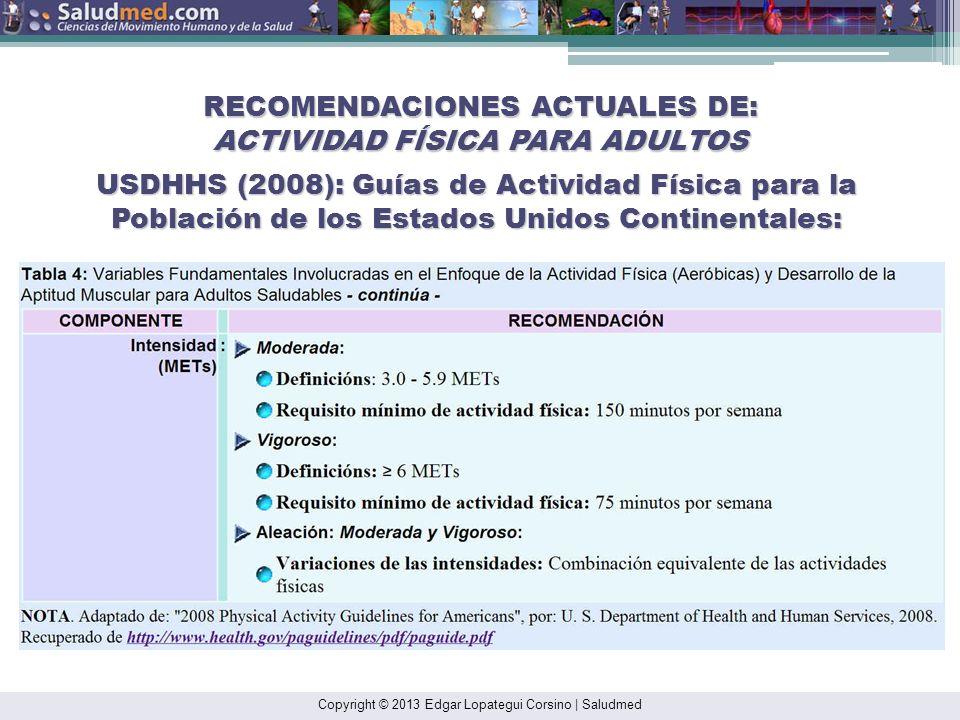 Copyright © 2013 Edgar Lopategui Corsino | Saludmed RECOMENDACIONES ACTUALES DE: ACTIVIDAD FÍSICA PARA ADULTOS