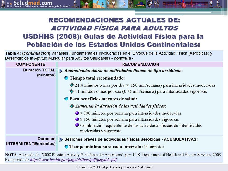 Copyright © 2013 Edgar Lopategui Corsino | Saludmed RECOMENDACIONES ACTUALES DE: ACTIVIDAD FÍSICA PARA ADULTOS USDHHS (2008): Guías de Actividad Físic
