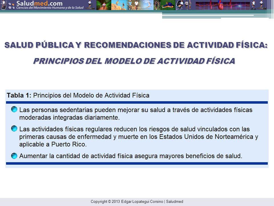 Copyright © 2013 Edgar Lopategui Corsino   Saludmed RECOMENDACIONES ACTUALES DE: ACTIVIDAD FÍSICA PARA ADULTOS USDHHS (2008): Guías de Actividad Física para la Población de los Estados Unidos Continentales: