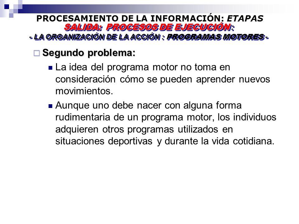 PROCESAMIENTO DE LA INFORMACIÓN: ETAPAS Segundo problema: Segundo problema: La idea del programa motor no toma en consideración cómo se pueden aprender nuevos movimientos.