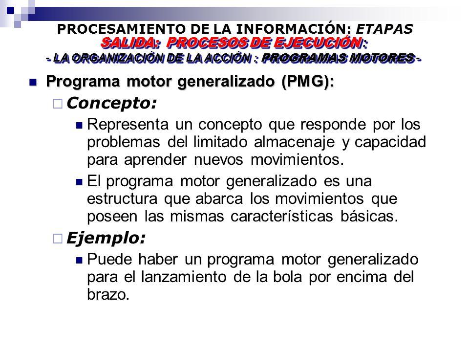PROCESAMIENTO DE LA INFORMACIÓN: ETAPAS Programa motor generalizado (PMG): Programa motor generalizado (PMG): Concepto: Representa un concepto que responde por los problemas del limitado almacenaje y capacidad para aprender nuevos movimientos.