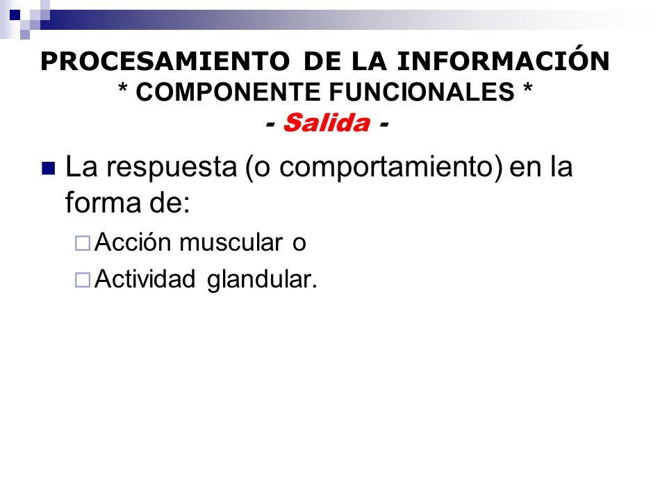 PROCESAMIENTO DE LA INFORMACIÓN: ETAPAS Los procesos de ejecución: Los procesos de ejecución: Son responsables para traducir las decisiones en comandos para la musculatura.