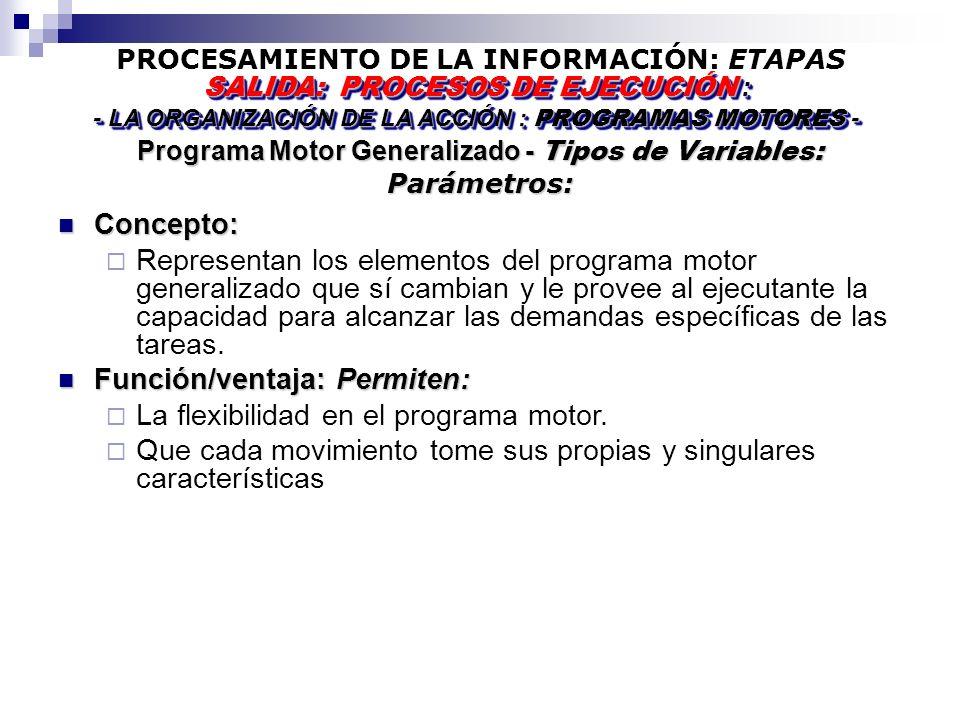 PROCESAMIENTO DE LA INFORMACIÓN: ETAPAS Programa Motor Generalizado - Tipos de Variables: Parámetros: SALIDA: PROCESOS DE EJECUCIÓN : - LA ORGANIZACIÓN DE LA ACCIÓN : PROGRAMAS MOTORES - SALIDA: PROCESOS DE EJECUCIÓN : - LA ORGANIZACIÓN DE LA ACCIÓN : PROGRAMAS MOTORES - Concepto: Concepto: Representan los elementos del programa motor generalizado que sí cambian y le provee al ejecutante la capacidad para alcanzar las demandas específicas de las tareas.