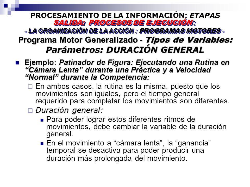 PROCESAMIENTO DE LA INFORMACIÓN: ETAPAS Programa Motor Generalizado - Tipos de Variables: Parámetros: DURACIÓN GENERAL SALIDA: PROCESOS DE EJECUCIÓN : - LA ORGANIZACIÓN DE LA ACCIÓN : PROGRAMAS MOTORES - SALIDA: PROCESOS DE EJECUCIÓN : - LA ORGANIZACIÓN DE LA ACCIÓN : PROGRAMAS MOTORES - Ejemplo: Patinador de Figura: Ejecutando una Rutina en Cámara Lenta durante una Práctica y a Velocidad Normal durante la Competencia: Ejemplo: Patinador de Figura: Ejecutando una Rutina en Cámara Lenta durante una Práctica y a Velocidad Normal durante la Competencia: En ambos casos, la rutina es la misma, puesto que los movimientos son iguales, pero el tiempo general requerido para completar los movimientos son diferentes.