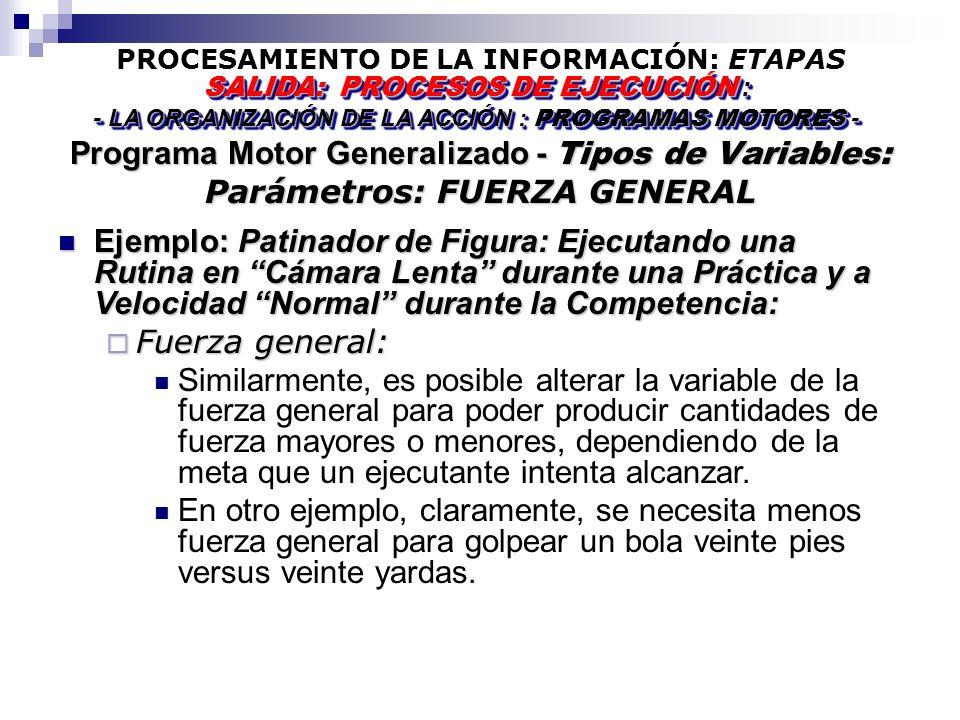 PROCESAMIENTO DE LA INFORMACIÓN: ETAPAS Programa Motor Generalizado - Tipos de Variables: Parámetros: FUERZA GENERAL SALIDA: PROCESOS DE EJECUCIÓN : - LA ORGANIZACIÓN DE LA ACCIÓN : PROGRAMAS MOTORES - SALIDA: PROCESOS DE EJECUCIÓN : - LA ORGANIZACIÓN DE LA ACCIÓN : PROGRAMAS MOTORES - Ejemplo: Patinador de Figura: Ejecutando una Rutina en Cámara Lenta durante una Práctica y a Velocidad Normal durante la Competencia: Ejemplo: Patinador de Figura: Ejecutando una Rutina en Cámara Lenta durante una Práctica y a Velocidad Normal durante la Competencia: Fuerza general: Fuerza general: Similarmente, es posible alterar la variable de la fuerza general para poder producir cantidades de fuerza mayores o menores, dependiendo de la meta que un ejecutante intenta alcanzar.