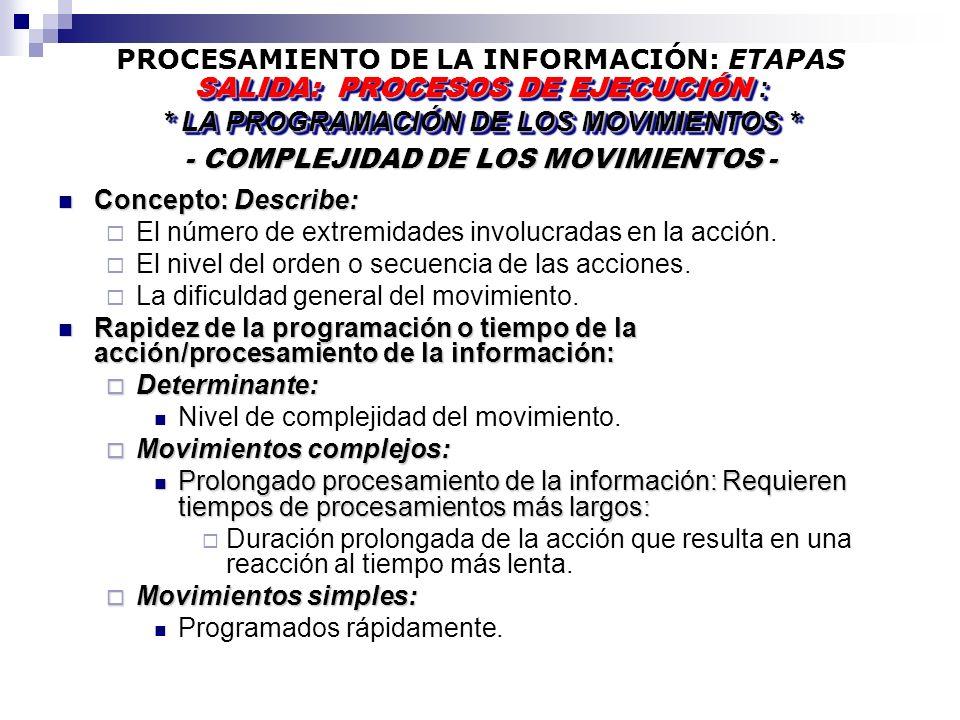 PROCESAMIENTO DE LA INFORMACIÓN: ETAPAS - COMPLEJIDAD DE LOS MOVIMIENTOS - SALIDA: PROCESOS DE EJECUCIÓN : * LA PROGRAMACIÓN DE LOS MOVIMIENTOS * SALIDA: PROCESOS DE EJECUCIÓN : * LA PROGRAMACIÓN DE LOS MOVIMIENTOS * Concepto: Describe: Concepto: Describe: El número de extremidades involucradas en la acción.