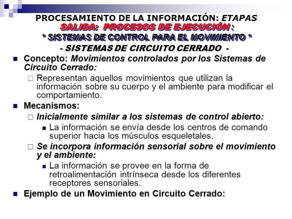 PROCESAMIENTO DE LA INFORMACIÓN: ETAPAS - SISTEMAS DE CIRCUITO CERRADO - - SISTEMAS DE CIRCUITO CERRADO - SALIDA: PROCESOS DE EJECUCIÓN : * SISTEMAS DE CONTROL PARA EL MOVIMIENTO * SALIDA: PROCESOS DE EJECUCIÓN : * SISTEMAS DE CONTROL PARA EL MOVIMIENTO * Concepto: Movimientos controlados por los Sistemas de Circuito Cerrado: Concepto: Movimientos controlados por los Sistemas de Circuito Cerrado: Representan aquellos movimientos que utilizan la información sobre su cuerpo y el ambiente para modificar el comportamiento.