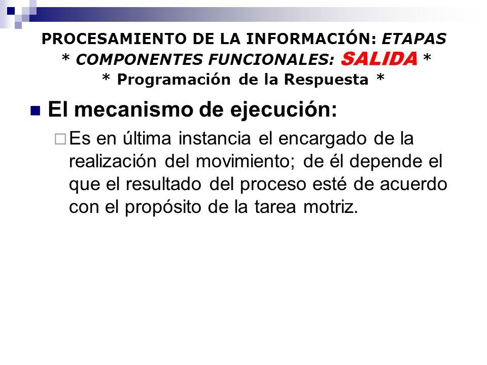 PROCESAMIENTO DE LA INFORMACIÓN: ETAPAS - RESUMEN - - RESUMEN - SALIDA: PROCESOS DE EJECUCIÓN : * SISTEMAS DE CONTROL PARA EL MOVIMIENTO * SALIDA: PROCESOS DE EJECUCIÓN : * SISTEMAS DE CONTROL PARA EL MOVIMIENTO * La tercera etapa del procesamiento, trabaja con la organización del plan en coordinación con las estructuras del sistema nervioso central, de manera que se pueda producir la acción deseada.
