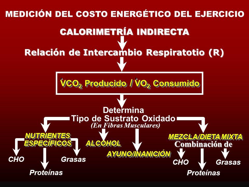 CALORIMETRÍA INDIRECTA Relación de Intercambio Respiratorio (R) (Proporción del Intercambio Respiratorio o Cociente Respiratorio [CR]) VCO 2 Producido