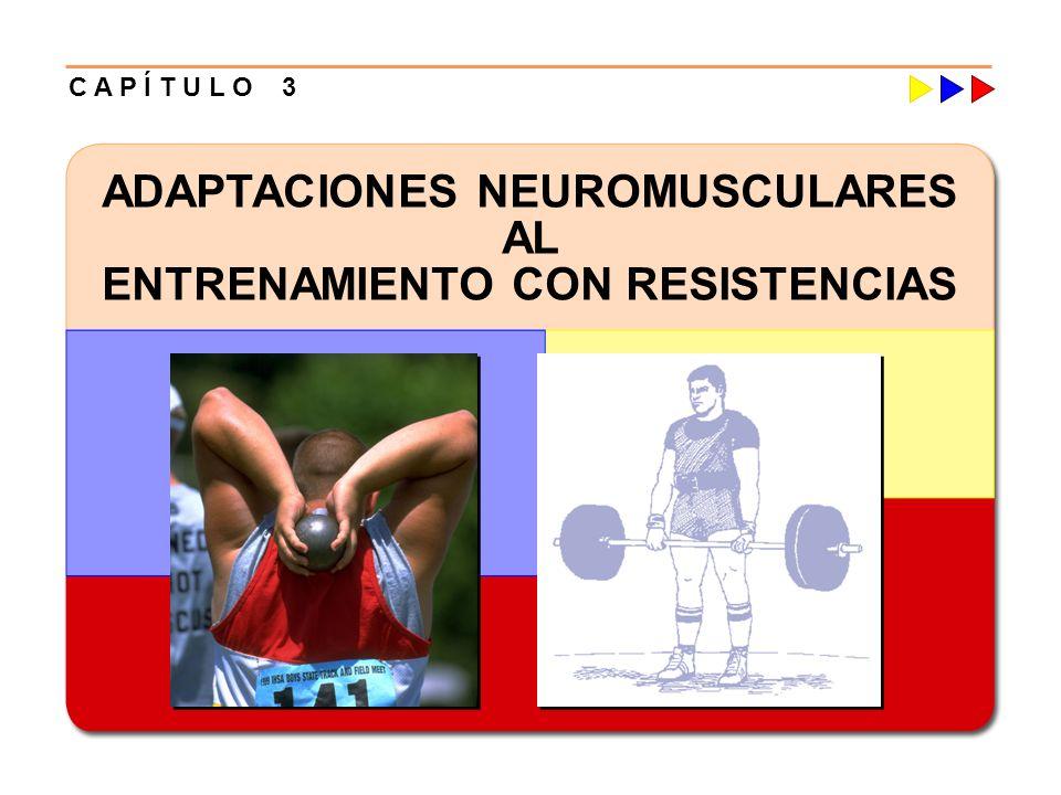 Entrenamiento con Resistencias Adaptaciones/Ganancias en Fortaleza Mecanismos Inhibitorios del: Sistema Neuromuscular Inhibición Autogénica Adaptación al Entrenamiento con Resistencias Reduce los Impulsos Inhibitorios Aumento en la Tensión o Fuerza Muscular Efecto Las Ganancias en Fortaleza pueden lograrse mediante una Inhibición Neurológica Reducida (en ausencia de Hipertrofia Muscular) Implicación