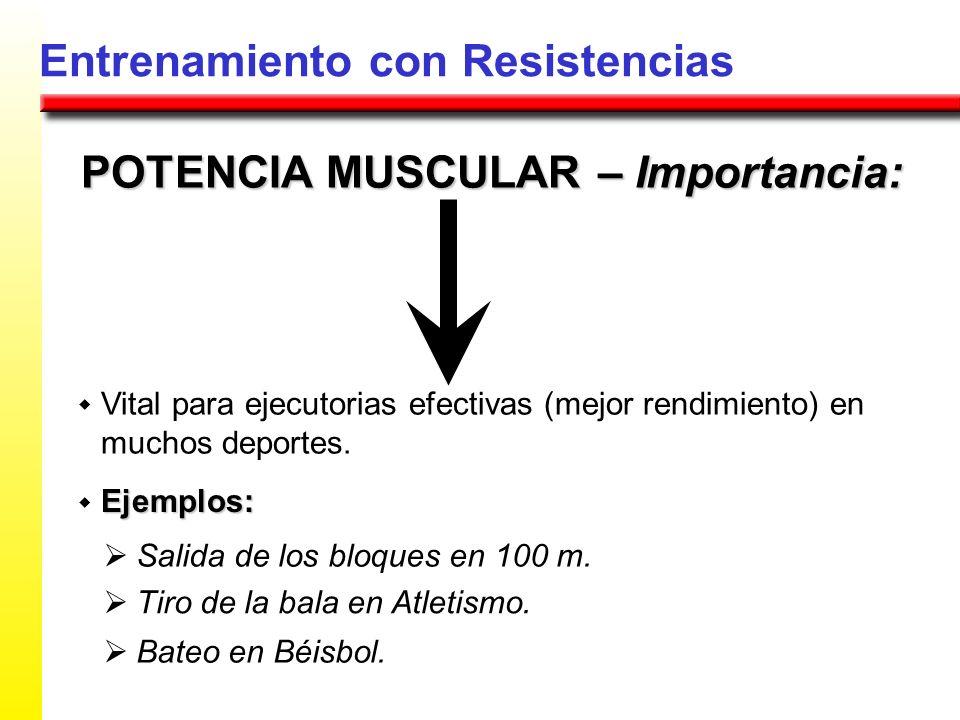 Entrenamiento con Resistencias POTENCIA MUSCULAR – Importancia: Vital para ejecutorias efectivas (mejor rendimiento) en muchos deportes. Ejemplos: Sal