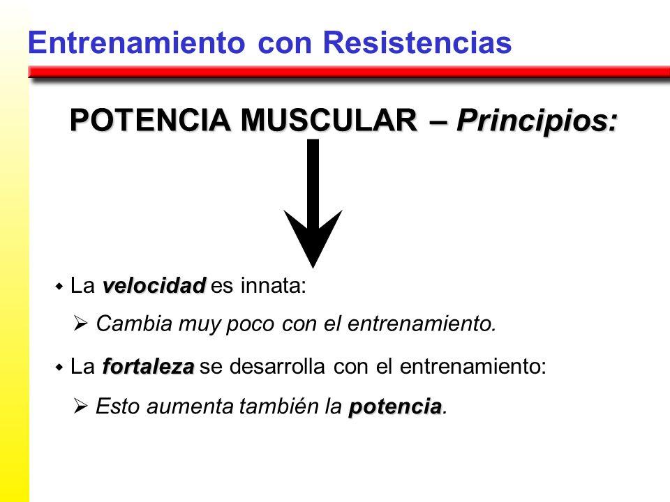 Entrenamiento con Resistencias POTENCIA MUSCULAR – Principios: velocidad La velocidad es innata: fortaleza La fortaleza se desarrolla con el entrenami