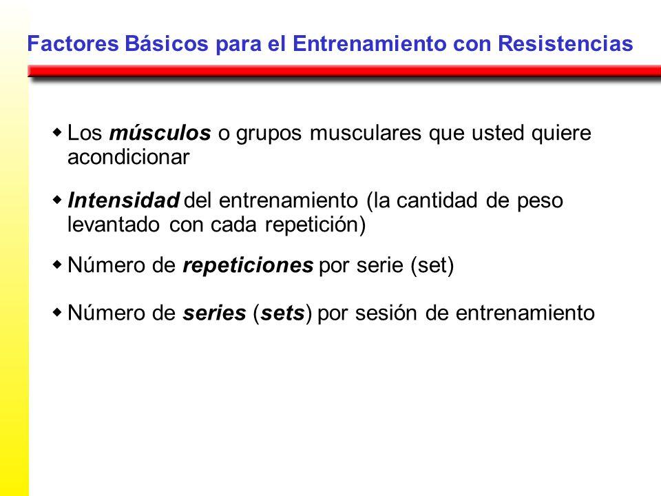 Factores Básicos para el Entrenamiento con Resistencias Los músculos o grupos musculares que usted quiere acondicionar Intensidad del entrenamiento (l