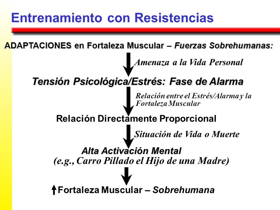 Entrenamiento con Resistencias ADAPTACIONES en Fortaleza Muscular – Fuerzas Sobrehumanas : Tensión Psicológica/Estrés: Fase de Alarma Amenaza a la Vid