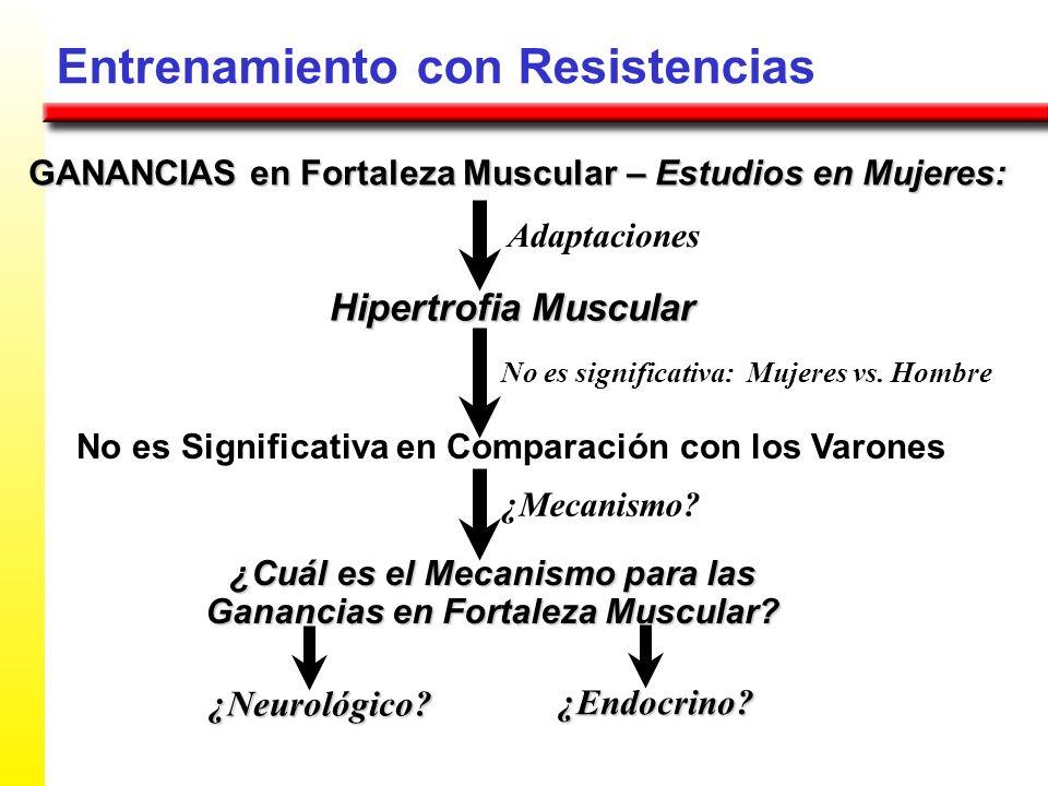 Entrenamiento con Resistencias GANANCIAS en Fortaleza Muscular – Estudios en Mujeres: Hipertrofia Muscular Adaptaciones No es Significativa en Compara