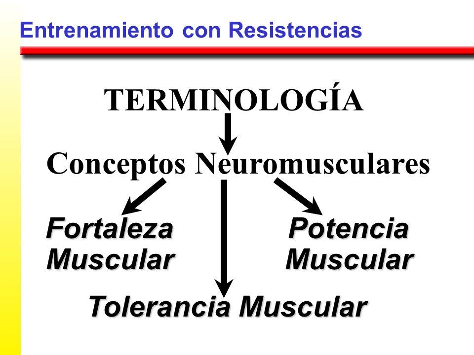 Entrenamiento con Resistencias FortalezaMuscular TERMINOLOGÍA PotenciaMuscular Tolerancia Muscular Fuerza Máxima Generada por un Músculo Fuerza Máxima Generada por un Músculo a una Velocidad Específica (Período Corto de Tiempo) Capacidad para Acciones Musculares Dinámicas Repetidas o una Contracción Isométrica Sostenida