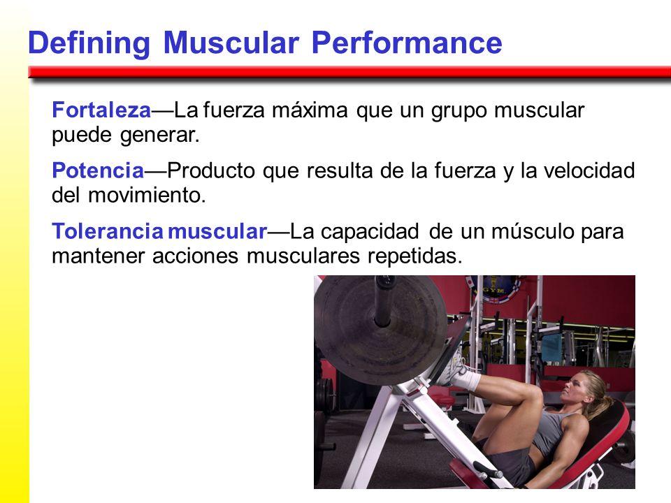Defining Muscular Performance FortalezaLa fuerza máxima que un grupo muscular puede generar. PotenciaProducto que resulta de la fuerza y la velocidad