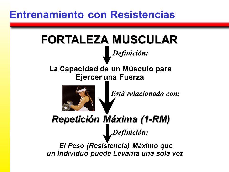 Entrenamiento con Resistencias FORTALEZA MUSCULAR La C apacidad de un Músculo para Ejercer una Fuerza Repetición Máxima (1-RM) El Peso (Resistencia) M