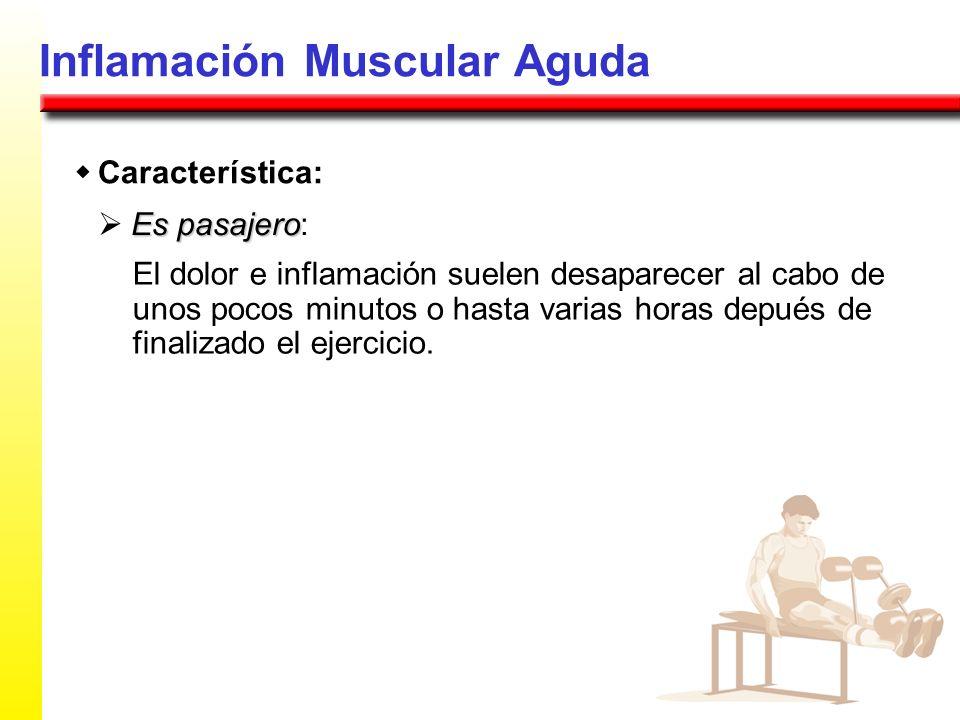 Inflamación Muscular Aguda Es pasajero Es pasajero: El dolor e inflamación suelen desaparecer al cabo de unos pocos minutos o hasta varias horas depué
