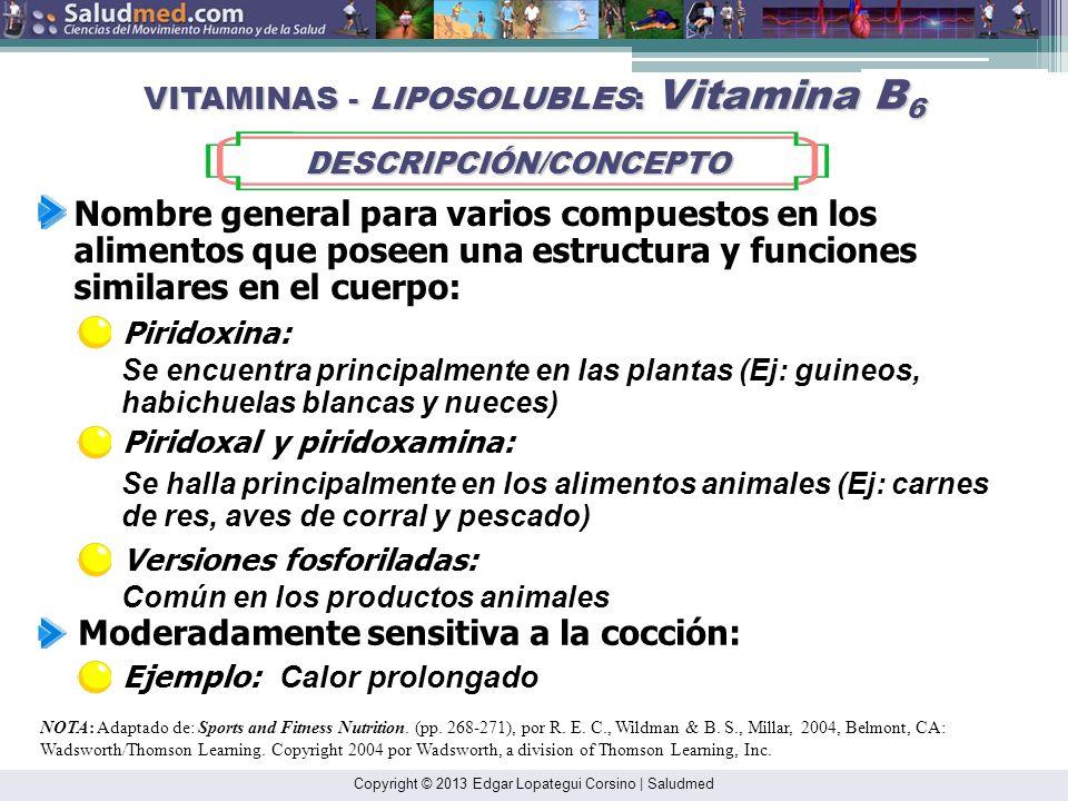 Copyright © 2013 Edgar Lopategui Corsino | Saludmed NOTA: Adaptado de: Sports and Fitness Nutrition. (pp. 266-267), por R. E. C., Wildman & B. S., Mil