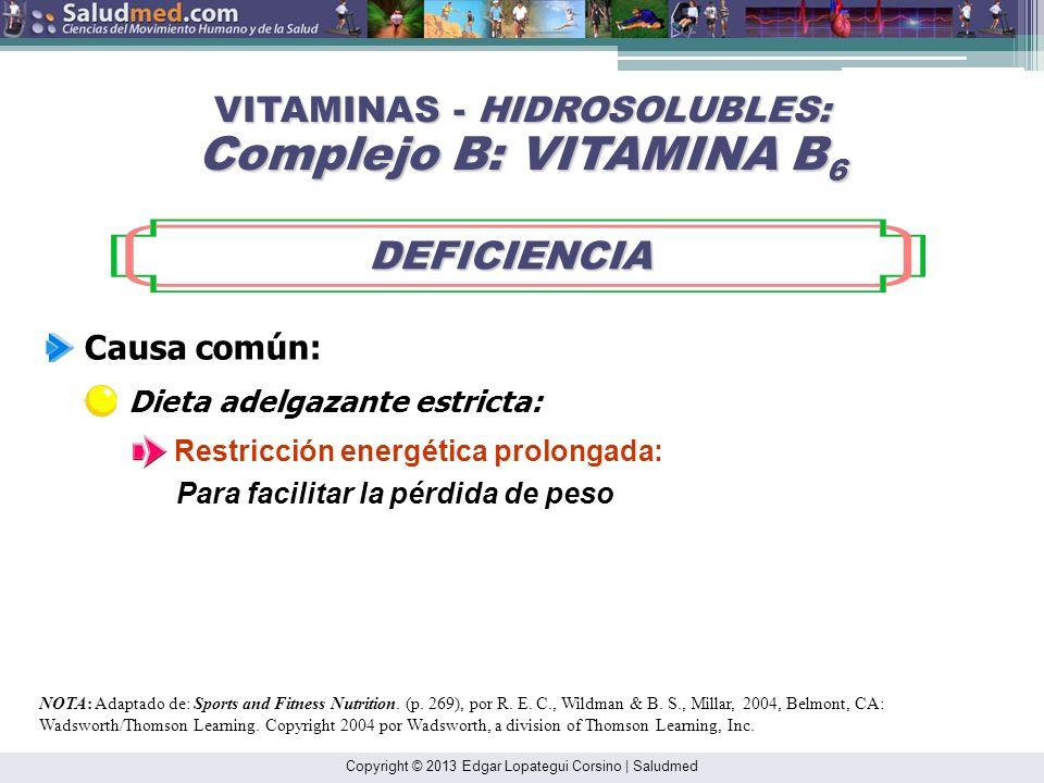 Copyright © 2013 Edgar Lopategui Corsino | Saludmed NOTA: Adaptado de: Sports and Fitness Nutrition. (pp. 268-271), por R. E. C., Wildman & B. S., Mil