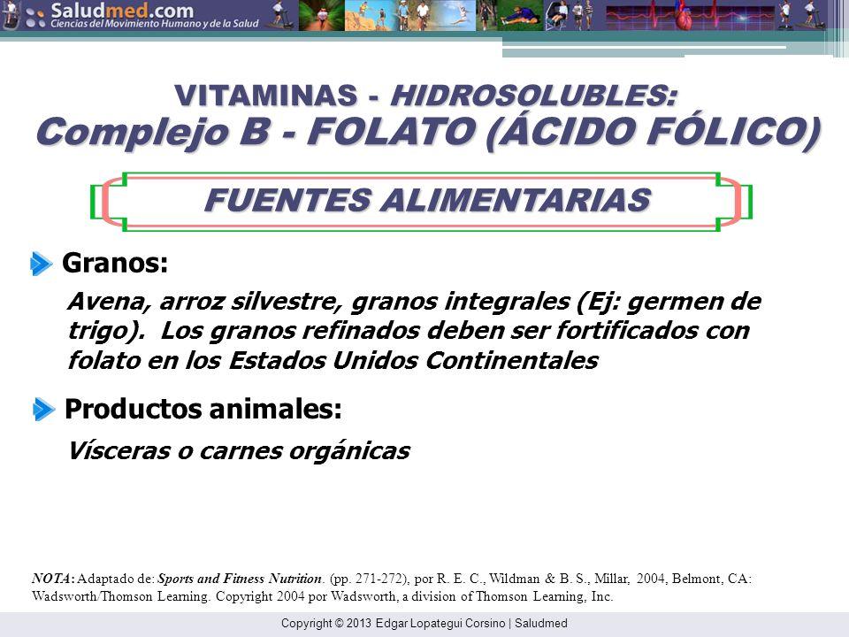 Copyright © 2013 Edgar Lopategui Corsino | Saludmed NOTA: Adaptado de: Sports and Fitness Nutrition. (pp. 271-272), por R. E. C., Wildman & B. S., Mil