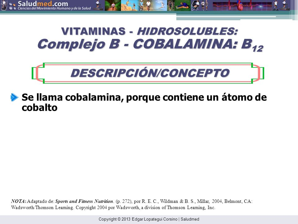 Copyright © 2013 Edgar Lopategui Corsino | Saludmed NOTA: Adaptado de: Sports and Fitness Nutrition. (pp. 271-272), por R. E. C., Wildman & B. S., Mil