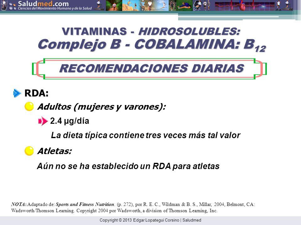 Copyright © 2013 Edgar Lopategui Corsino | Saludmed NOTA: Adaptado de: Sports and Fitness Nutrition. (pp. 272-273), por R. E. C., Wildman & B. S., Mil