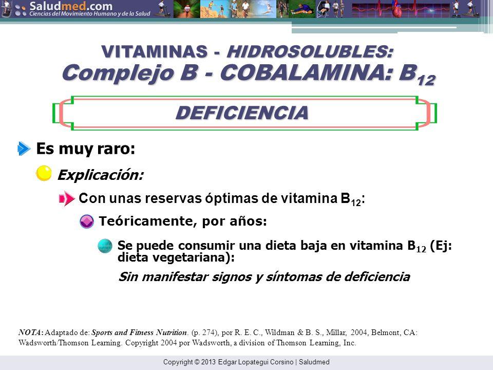 Copyright © 2013 Edgar Lopategui Corsino | Saludmed NOTA: Adaptado de: Sports and Fitness Nutrition. (p. 272), por R. E. C., Wildman & B. S., Millar,
