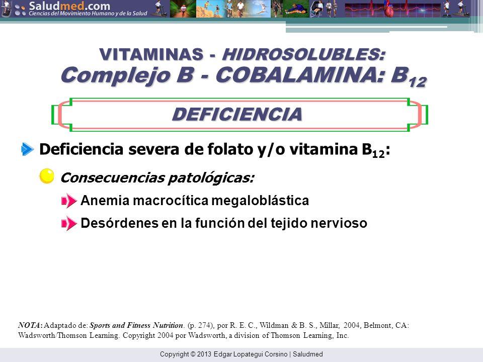 Copyright © 2013 Edgar Lopategui Corsino | Saludmed NOTA: Adaptado de: Sports and Fitness Nutrition. (p. 274), por R. E. C., Wildman & B. S., Millar,