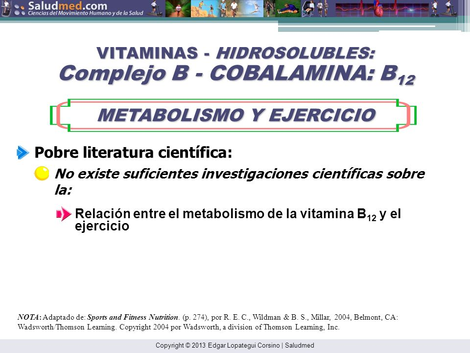 Copyright © 2013 Edgar Lopategui Corsino | Saludmed NOTA: Adaptado de: Sports and Fitness Nutrition. (pp. 272-275), por R. E. C., Wildman & B. S., Mil