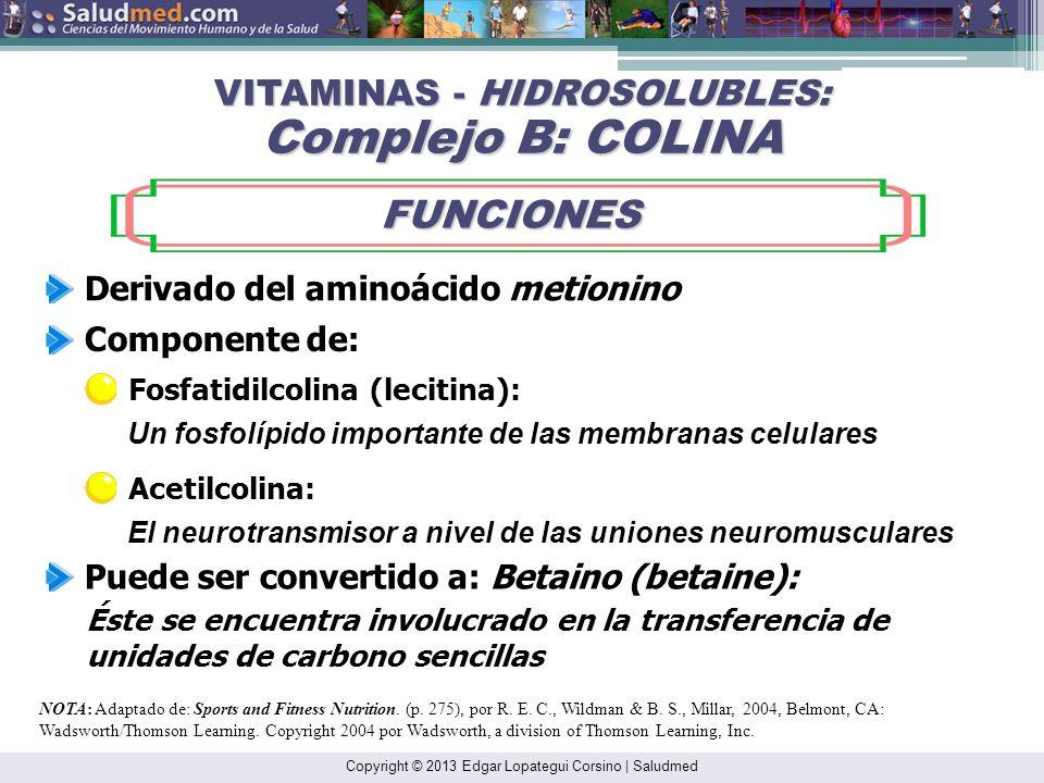 Copyright © 2013 Edgar Lopategui Corsino | Saludmed NOTA: Adaptado de: Sports and Fitness Nutrition. (p. 275), por R. E. C., Wildman & B. S., Millar,